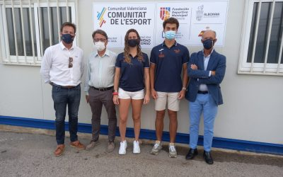 Marta Sánchez, José Luis Boronat y Octavio Ramón, en el programa de Tecnificación de la Federación de Vela de la Comunitat